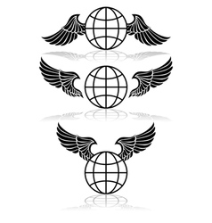 Globe and wings vector