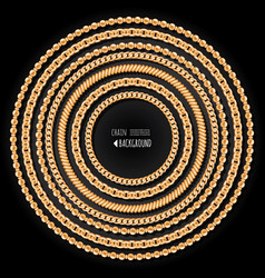 gold chains round frame template on black vector image