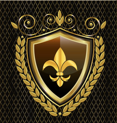 gold shield emblem with flower abstract icon vector image
