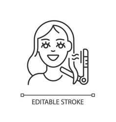 Hair styling linear icon vector