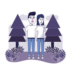 happy couple with casual clothes in the landscape vector image