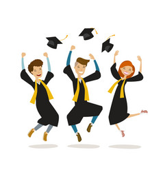 Happy graduates or students throw hats education vector