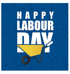 Happy labor day simple typography on a blue vector