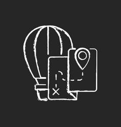 Hot air balloon tourism chalk white icon on dark vector