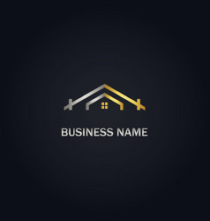 house roof gold logo vector image