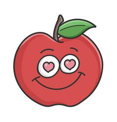 In love red apple cartoon apple vector