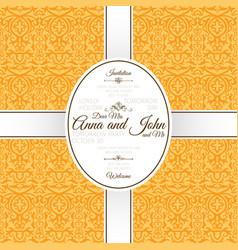 invitation card with yellow arabic pattern vector image