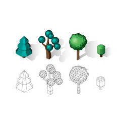 isometric tree set landscape constructor vector image