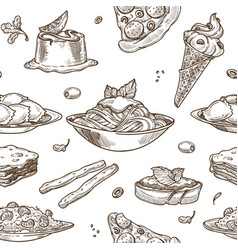 Italian cuisine sketch pattern background vector