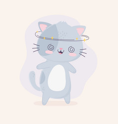 kawaii cartoon cute cat crazy character vector image