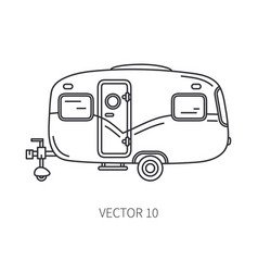 Line icon retro tourism auto trailer vector