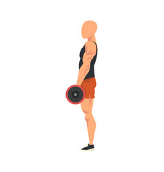 man standing with barbell side view male vector image