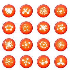 molecule icons set red vector image