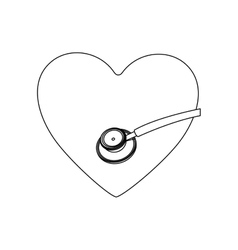 Monochrome contour with heart and sthetoscope vector