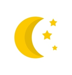 Moon and stars icon flat style vector image