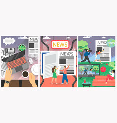 news media poster banner template set vector image