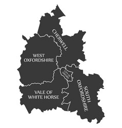 Oxfordshire county england uk black map vector
