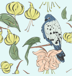 pastel blue green summer texture with bird plant vector image