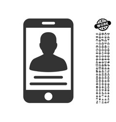Patient mobile account icon with job bonus vector