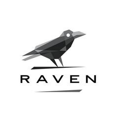Raven crow geometric polygonal logo icon vector