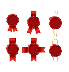 realistic 3d detailed red wax seals rope ribbons vector image