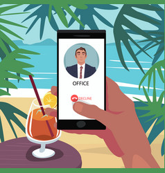 Reject call from boss in vacation vector
