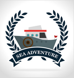 sea adventure boat vintage transport label vector image