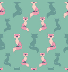 seamless pattern cute cartoon style fox on vector image