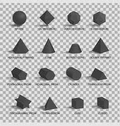 set 3d figures on transparent background vector image
