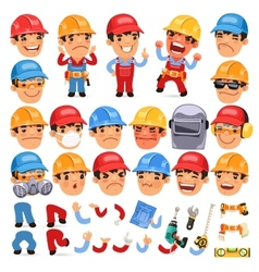 set cartoon worker character for your design or vector image