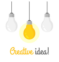 set hanging light bulbs with one glowing vector image
