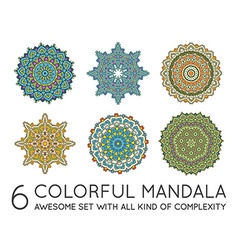 Set of Ethnic Fractal Mandala Meditation looks vector