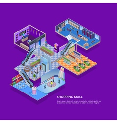 Shopping Mall Isometric Concept vector