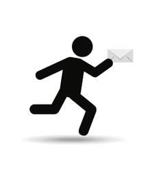 sihouette man running email vector image