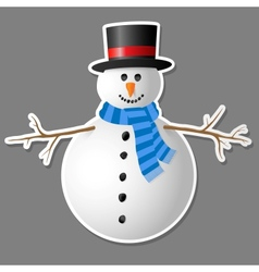 Snowman isolated on grey background vector image