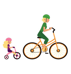 sport family concept with mother and daughter in vector image