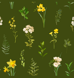 spring floral background in watercolor vector image