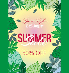 summer sale tropical poster with palm leaves vector image