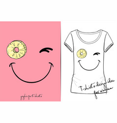 T-shirt of positive winks smiley vector