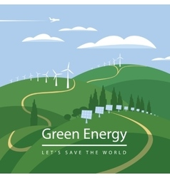 Wind turbines and solar panels vector