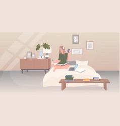 woman sitting on bed drinking coffee listening vector image