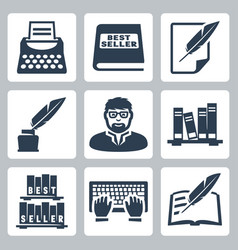 Writer icons set vector