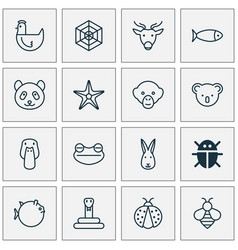 Zoo icons set collection of baboon moose vector