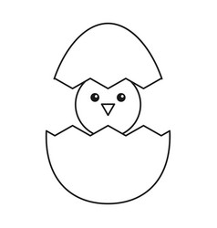 cute easter egg chicken thin line vector image
