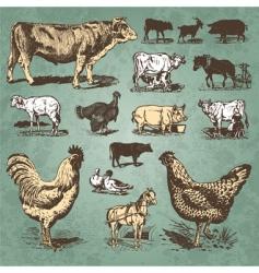 farm animals vintage set vector image vector image