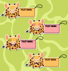 Four cute cartoon Giraffes stickers vector image vector image