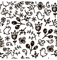 hand drawn doodle floral seamless pattern vector image vector image