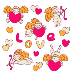 Set of cheerful Cupid for Valentines Day vector image