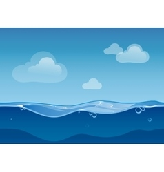 Water ocean seamless landscape with sky and clouds vector image