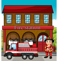 A fireman with a fire truck in a fire station vector image vector image